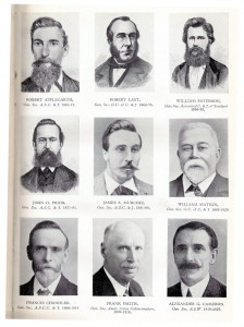 Above: the leaders of the ASW and its predecessor unions. Top row (l-r): Robert Applegarth, Robert Last, William Paterson; middle row: John D Prior, James S Murchie. William Matkin; bottom row: Francis Chandler, Frank Smith, Alexander Cameron.