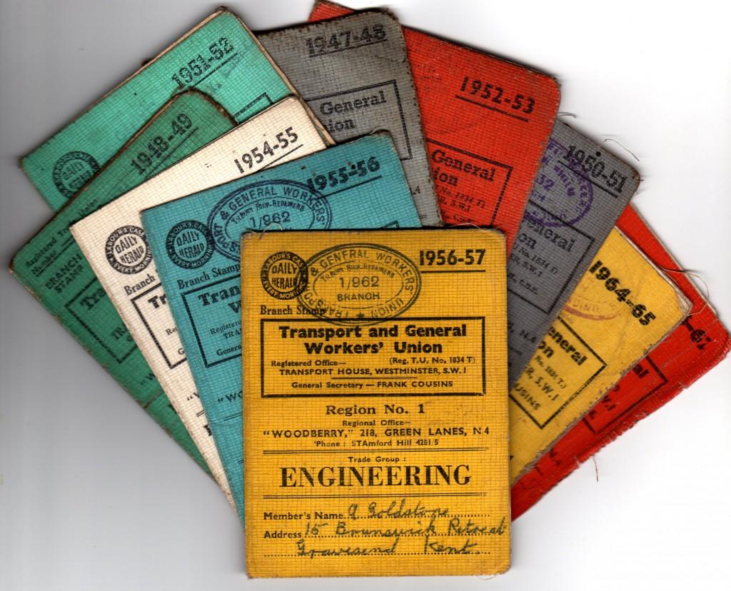 TGWU membership cards